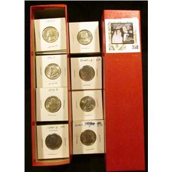 "9"" x 2"" x 2"" Stock box  containing 83 various non-silver Washington Quarters in carded holders. ($20"