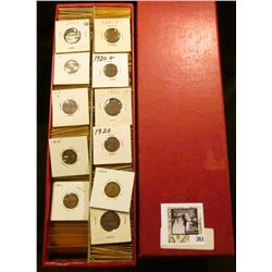 Double Row Red Stock Box of Lincoln Cents dating 1909-26. All stored in manila envelopes.