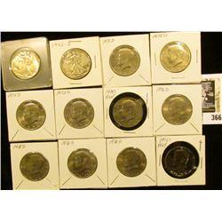 1942P EF & 42SVG Walking Liberty Half dollars; 1971D, (3) 72D, 74S Proof, (4) 76D BU, & 76S Proof Ke
