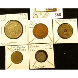 Oklahoma Tax Check Brass Medal; 1914 Sweden 10 Silver Ore, Y47; 1927 Philippines Centavo; 1975 Hong