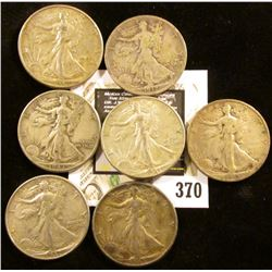 1917 Obverse S Good, 1941 P EF, (2) 42 P VF-EF, 43 P Fine, 45D EF & 45S VG Walking Liberty Half Doll