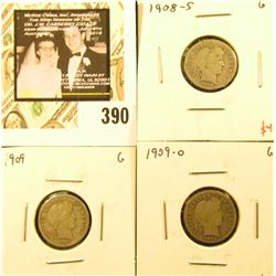 Group of (3) Barber Dimes, 1908-S, 1909, 1909-O, all G, group value $13