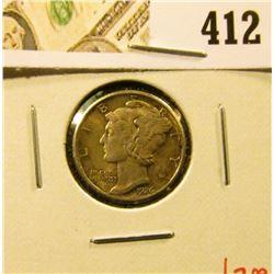 1926 Mercury Dime, XF, value $7