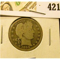 1899 Barber Quarter, G+ full rims, value $9