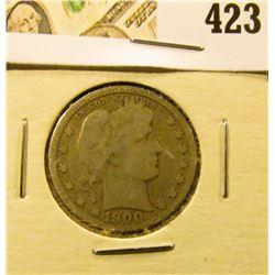 1900-O Barber Quarter, VG, better date, value $26