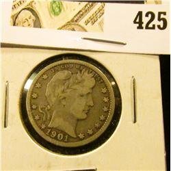 1901 Barber Quarter, VG10, value $15