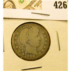 1902 Barber Quarter, G, value $9