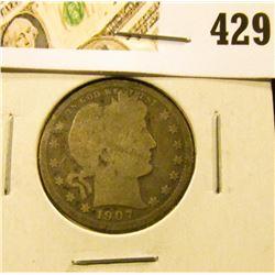1907-O Barber Quarter, G, value $9