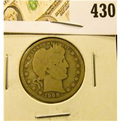1908-O Barber Quarter, G, value $9
