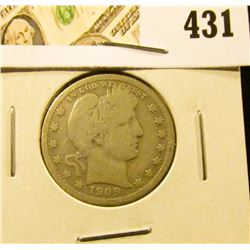 1909 Barber Quarter, VG, value $=10