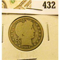 1909-D Barber Quarter, G, value $9