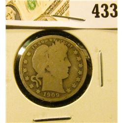1909-S Barber Quarter, G obverse, AG reverse, value $7