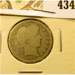 1910 Barber Quarter, G, value $9