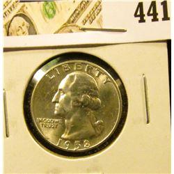 1958-D Washington Quarter, Gem BU, value $25