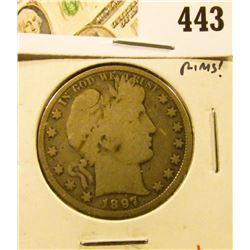 1897 Barber Half Dollar, G6, strong rims, value $20