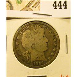 1898 Barber Half Dollar, G/VG, value $18
