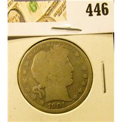 1901 Barber Half Dollar, G, value $17