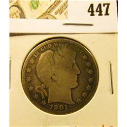 1901-O Barber Half Dollar, value $17