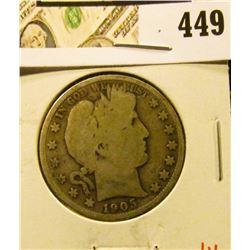 1905-S Barber Half Dollar, G, value $16