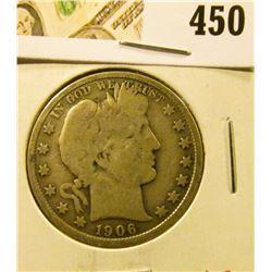 1906 Barber Half Dollar, VG, value $17