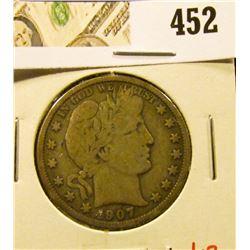 1907-O Barber Half Dollar, VG, value $17