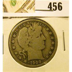 1909 Barber Half Dollar, VG, value $17