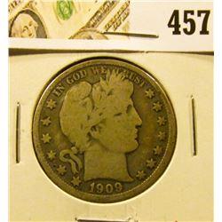 1909-O Barber Half Dollar, VG, better date, value $22