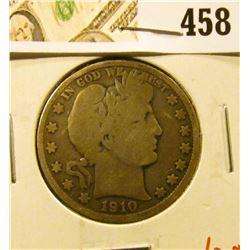1910-S Barber Half Dollar, VG, value $20