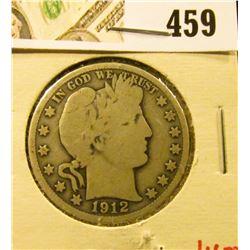 1912 Barber Half Dollar, G+, value $16
