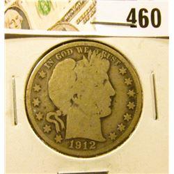 1912-D Barber Half Dollar, G+, value $16