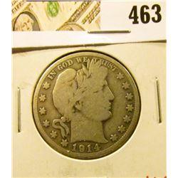 1914-S Barber Half Dollar, G+, value $16