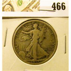1917 Walking Liberty Half Dollar, VG, value $19