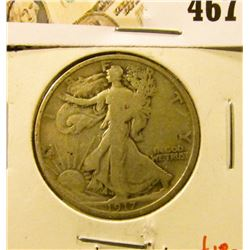 1917-S Walking Liberty Half Dollar, Reverse Mint mark, VG+, value $18