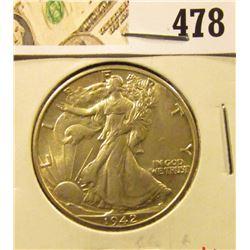1942 Walking Liberty Half Dollar, BU MS63+, value $60