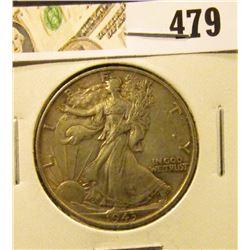 1943 Walking Liberty Half Dollar, XF, value $18