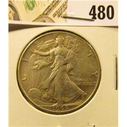 1944 Walking Liberty Half Dollar, XF, value $18