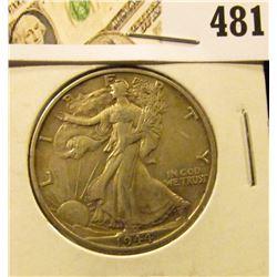 1944-D Walking Liberty Half Dollar, XF+, value $19