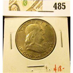 1950 Franklin Half Dollar, AU+, value $18