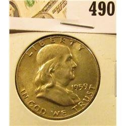 1959 Franklin Half Dollar, AU toned, value $15