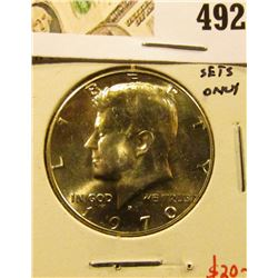 1970-D Kennedy Half Dollar, 40% Silver, from Mint Sets only, BU, value $20