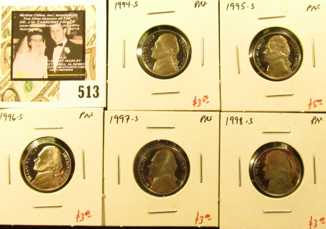 Group Of 5 Proof Jefferson Nickels 1994 S 1995 S 1996 S 1997 S 1998 S Group Value 17