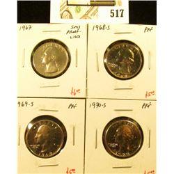 Group of (4) PROOF Washington Quarters, 1967 SMS/BU (proof-like), 1968-S, 1969-S, 1970-S, group valu