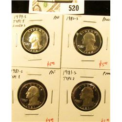 Group of (4) PROOF Washington Quarters, 1979-S type 1, 1980-S, 1981-S type 1, 1981-S type 2, group v