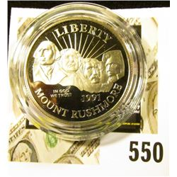 1991-S Mount Rushmore Commemorative Half Dollar, PROOF, value $12