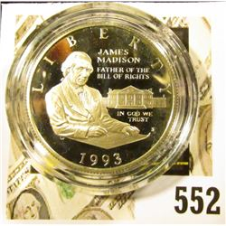 1993-S Silver Bill of Rights Commemorative Half Dollar, PROOF, value $15