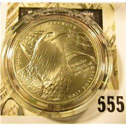 2008-S Bald Eagle Commemorative Half Dollar, BU, value $15