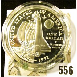 1992-P Columbus Quincentenary Commemorative Silver Dollar, PROOF, value $35