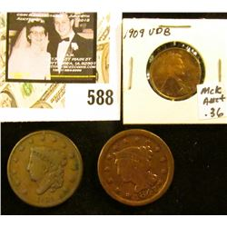 1835 & 1847 U.S. Large Cents, both G-VG; & 1909 P VDB, EF.