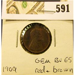1909 P Lincoln Cent, GEM BU 65 Red & brown