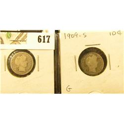 Barber Dime lot: 1909 D & S both VG.